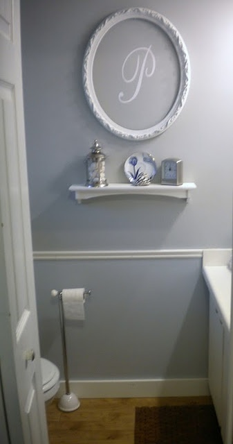 Downstairs bath done in grey white and black -- perhaps this monogram done in black? Maybe in red to add a pop of color?