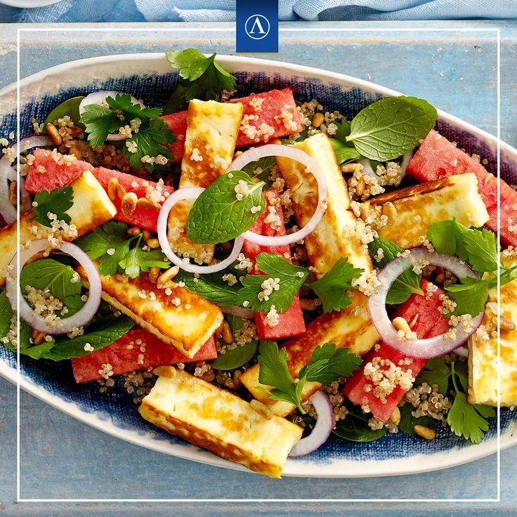 Haloumi, Watermelon and Quinoa Salad #vegetarianrecipes #easyrecipes #Lemnos #Fetta #Haloumi #Mediterranean