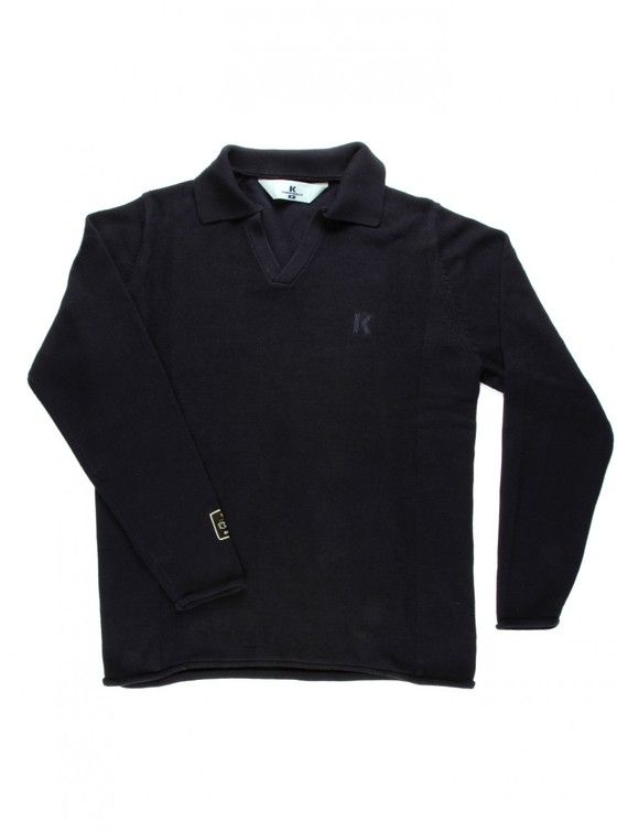 THE CONNERY 100% cotton knit V-neck jersey with collar.