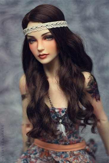 Black haired art doll