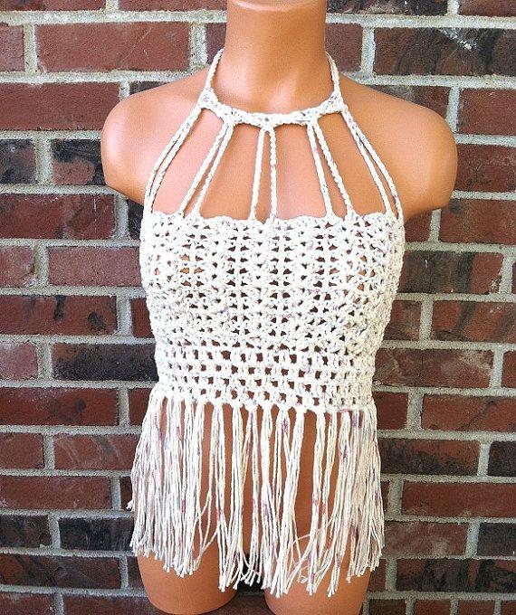 Vikni Crochet Halter Top Vintage Fringe Crochet Crop Top by vikni, $48.50