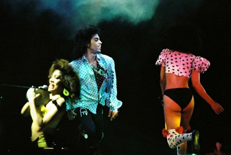 Sheila E., Prince and Cat Glover perform on stage on the Lovesexy tour at Wembley Arena on Aug. 3, 1988 in London, United Kingdom.