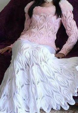 Для Вас, стройняшки- Белая вязаная юбка спицами с листочками , 3 серия. / Вязание спицами / Вязание для женщин спицами. Схемы
