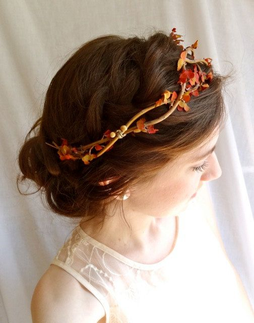 autumn head wreath BRAMBLE a fall wedding flower by thehoneycomb
