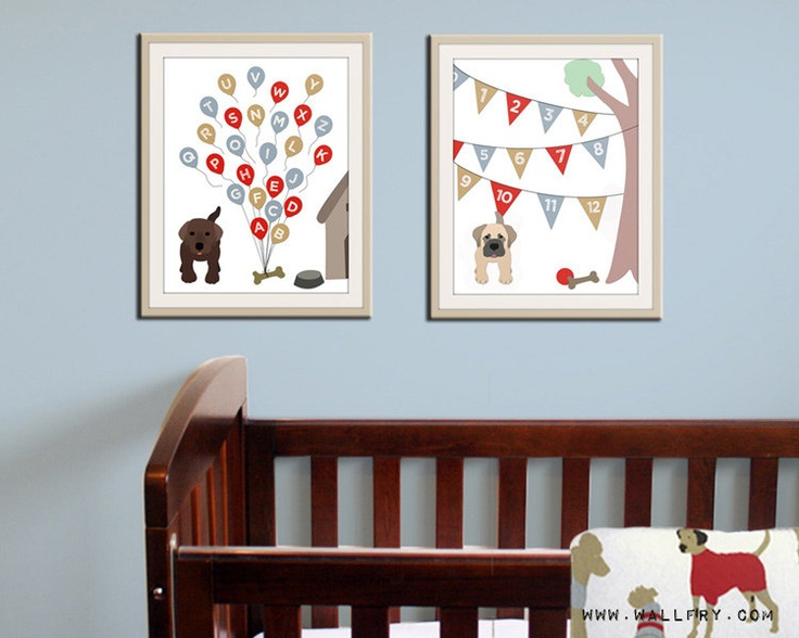 Alphabet Print Poster Abc Nursery Art Dog Children