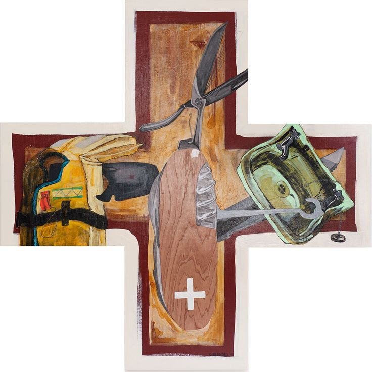 """Title: Plus Everything Date: 2015 Status: Sold Medium: Acrylic and mixed media painting on plywood board Size: 1200mm x 1200mm plus shape Price: $1800 NZ Description:  """"The pocket knife is a symbol of order, planning and protection. The juxtaposition of the sink and the lifejacket begs the question, what do you need these objects…Continue reading →"""