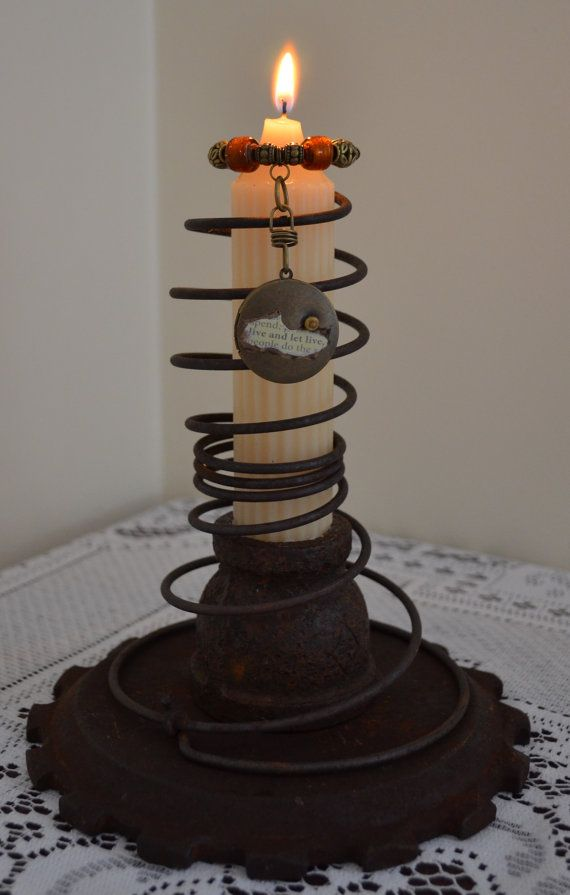 Steampunk Artisan Beaded Spring Candle Holder by AbracadabraBeads, $39.00
