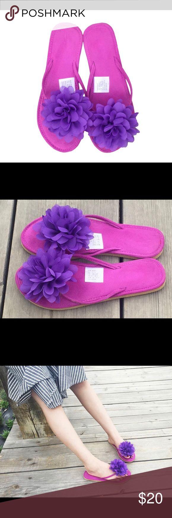 Shoes sandals flip flops -  Just In Purple Floral Sandals Flip Flops Flats Boutique
