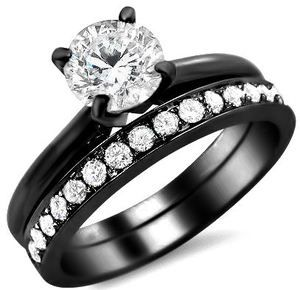 1.01CT ROUND CUT DIAMOND ENGAGEMENT RING WEDDING SET 18K BLACK GOLD | eBay