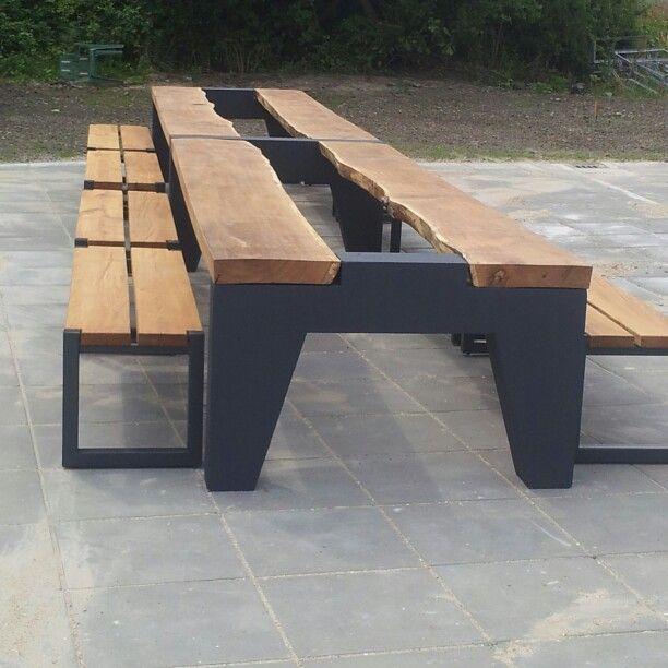 Picknick tafel 7, 5 meter Eikenhout en beton