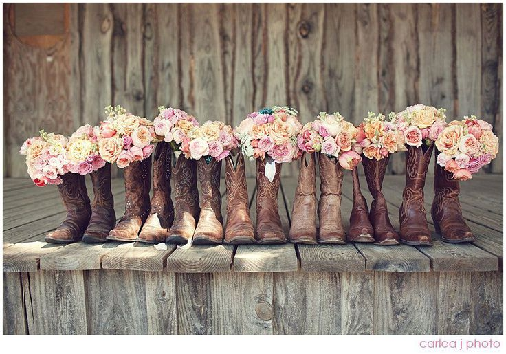 bouquets in cowgirl boots.