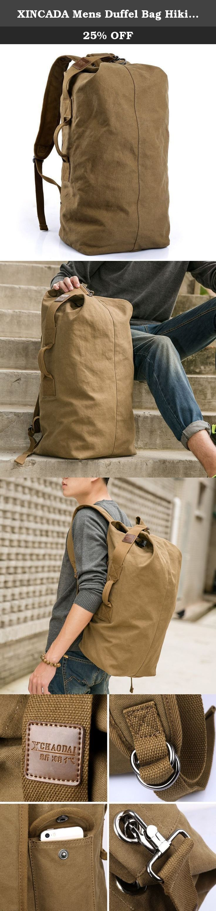 XINCADA Mens Duffel Bag Hiking Camping Waterproof Canvas Vintage Backpack (Khaki). About this backpack: This backpack is mainly designed for travel enthusiast and outdoors lovers. This backpack is large enough for your daily supplies and it is suitable for traveling, outdoors and sports. Reasonable and large capacity will make your things organized and safe. High quality hardware fittings are going well with this backpack. Key features of this bag: Reasonable capacity, durable material...