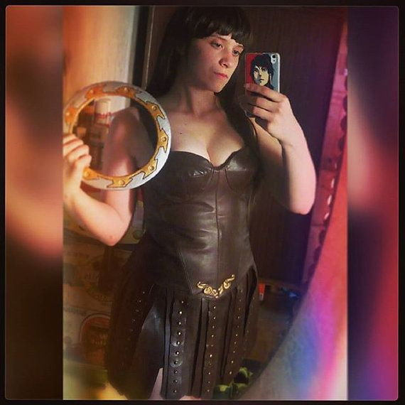 in stock Xena corset + skirt made of leather   I can also commission a costume for your specific measurements.