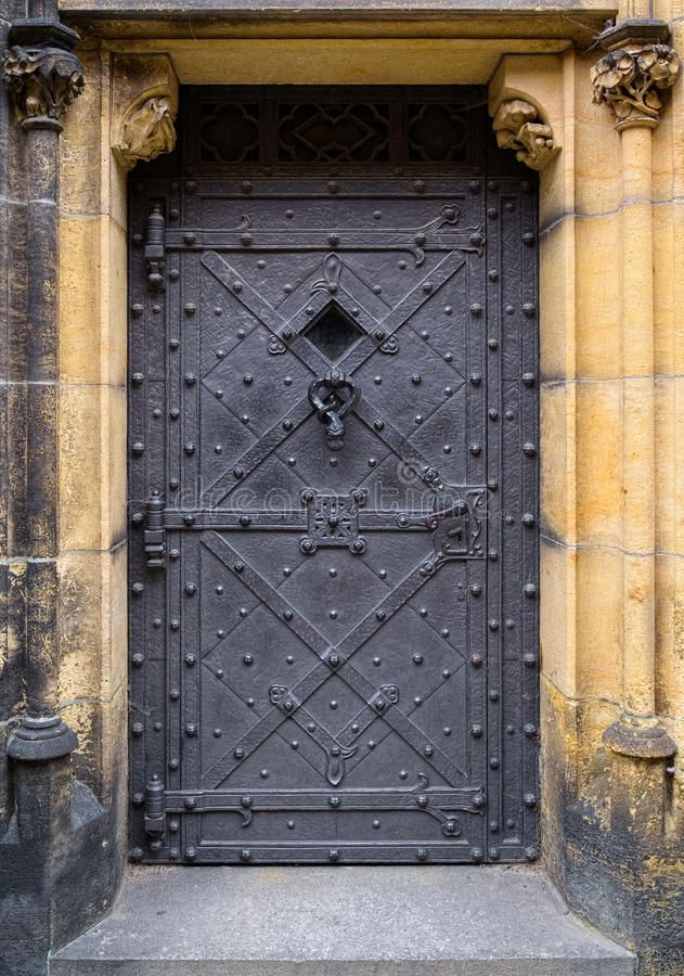 Photo About Medieval Iron Door With Strong Hinges And A Lot Of Rivets There Is A Small Viewing Window Covered With Dust Image Iron Doors Doors Medieval Door