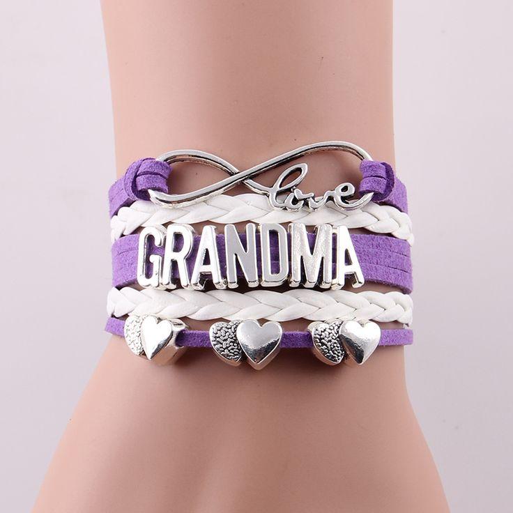Little Minglou 4 colors Infinity love grandma bracelet heart charm leather bracelets & bangles for women jewelry grandma gift