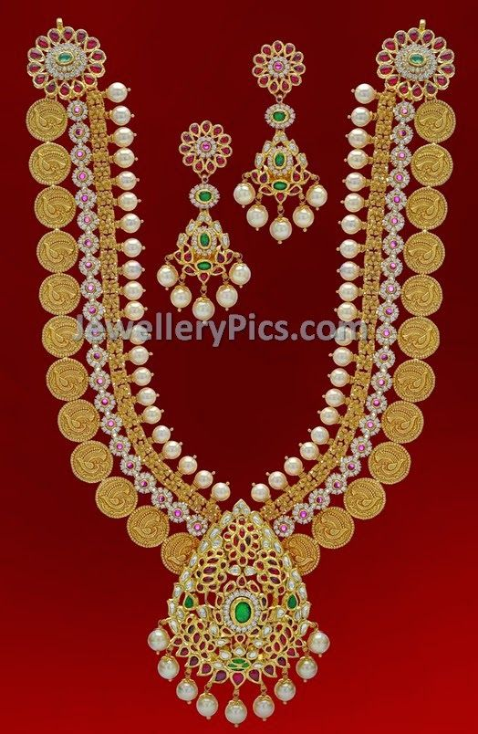 Antique kundan designer kasuharam - Latest Jewellery Designs