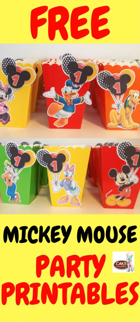 Free Mickey Mouse popcorn box favor printables