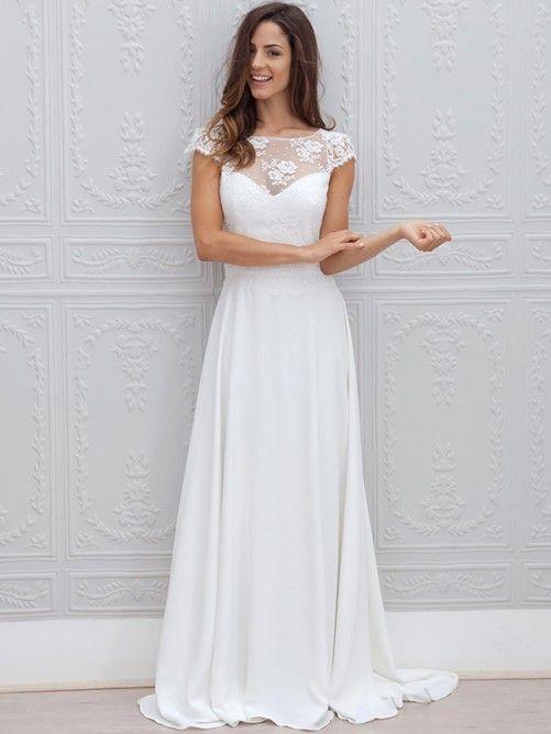 A-Line Bateau Neckline Sweep/Brush Train Chiffon Wedding Dress With Lace