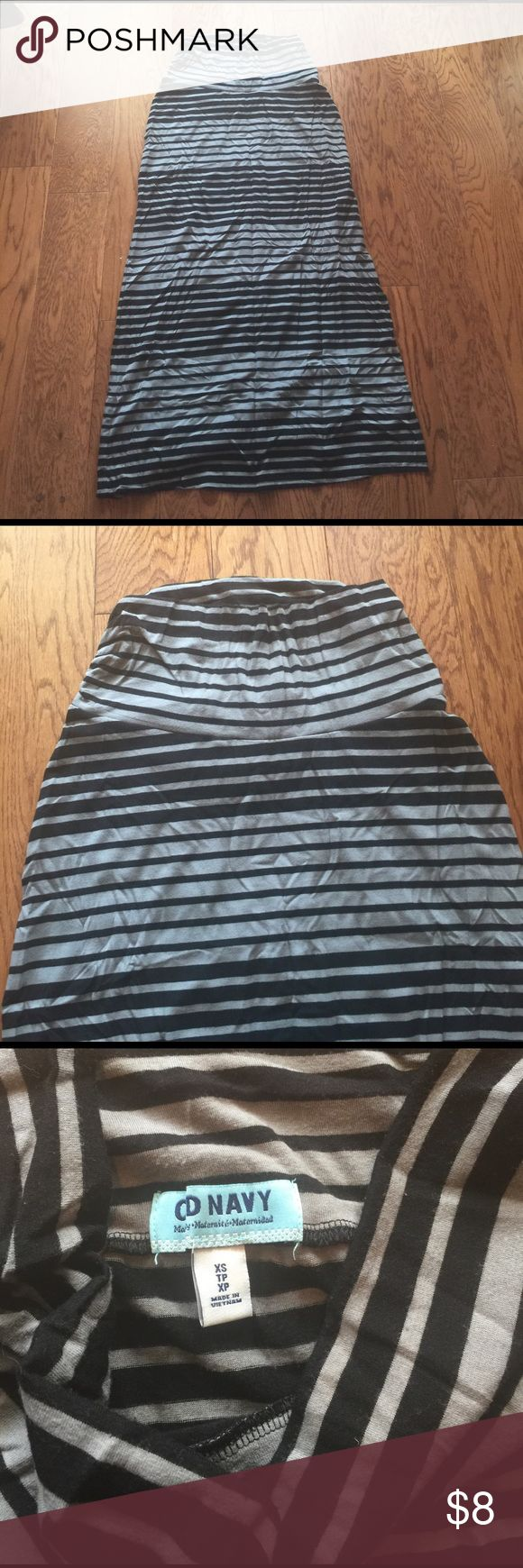 Old Navy Maternity maxi skirt. Great condition. Old Navy Maternity maxi skirt. Black and gray striped. Has slit in one side (shown in last pic). Really soft and comfy. Size XS. Old Navy Skirts