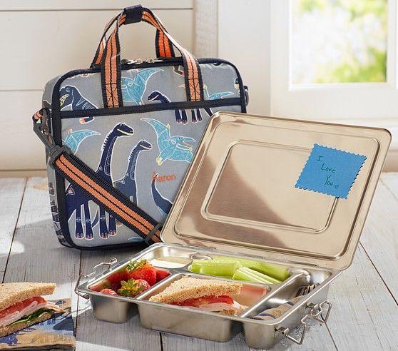 Mackenzie Gray Dino All-in-One Lunch Bag | Pottery Barn Kids