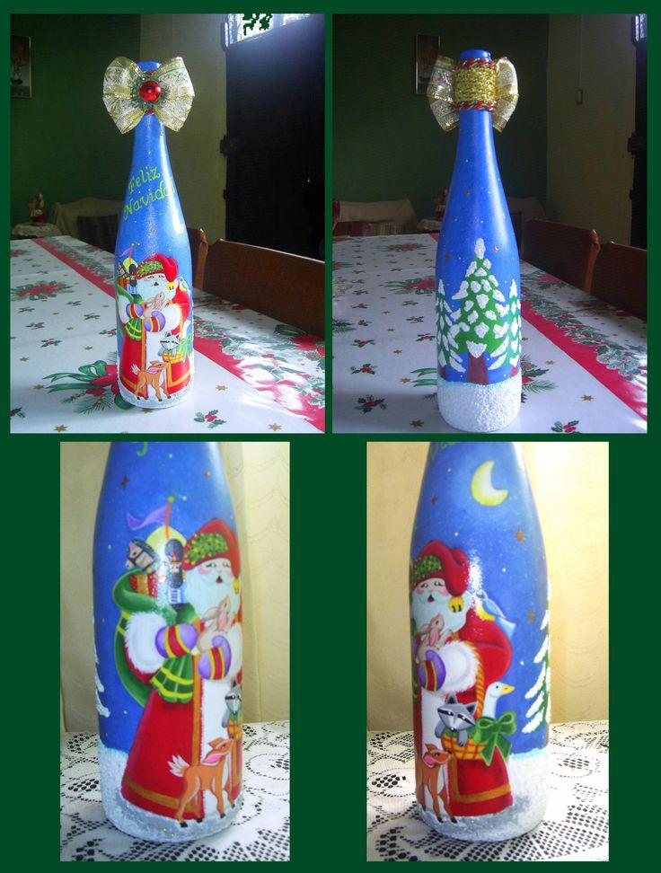As 7 melhores imagens em botellas decoradas no pinterest garrafas decoradas espa os e - Botellas decoradas navidenas ...