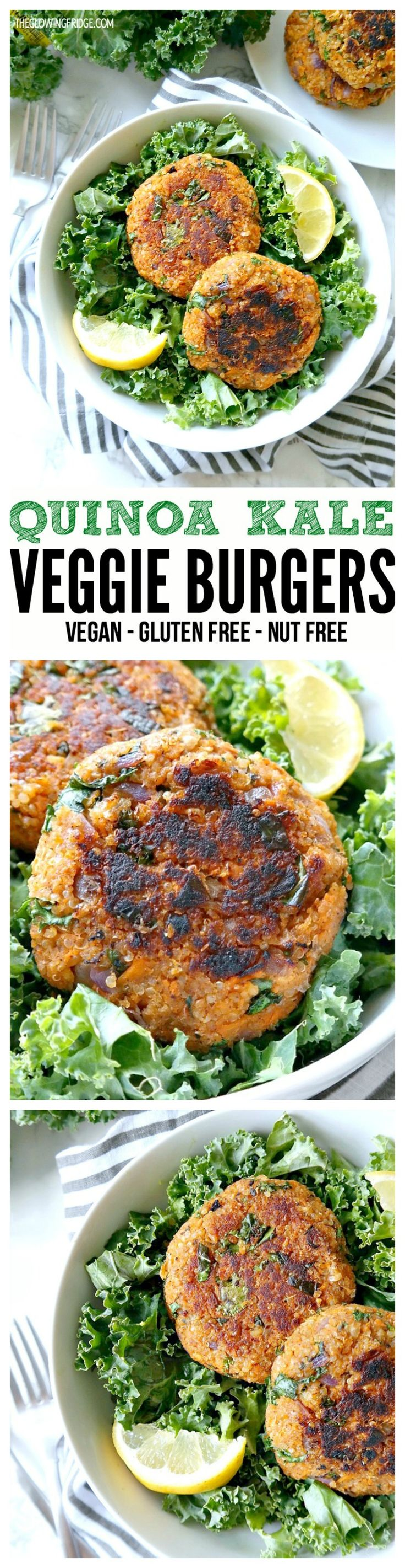 VEGAN. GLUTEN FREE. NUT FREE. Quinoa Kale Veggie Burgers. Healthy, full of flavor, hold together and super easy to make. Can be cooked 3 ways (grill, stovetop or baked in the oven!)