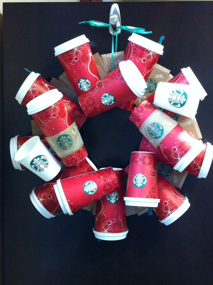 I Need Ideas For Decorating My Living Room: Starbucks Wreath! I Need To Do This For My Office Door