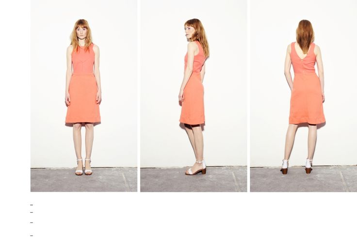 Coral-peach fitted waist dress with back zip fastening