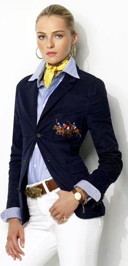 Ralph Lauren 2013  Frm bd: CASUAL Style & Looks. Luv the blazer & belt..