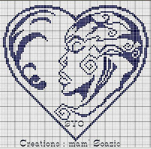 0 point de croix  femme africaine dans un coeur  - cross stitch african woman in a heart
