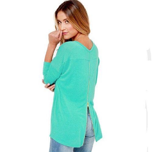 Europe Women Fashion Brands Long Sleeve Casual Sweatshirt Back Zipper Sexy Hoodies Mint Green Autumn Ladies Pullovers Coat 30130