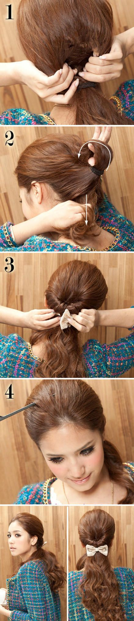 twisted ponytail, use a bow to hide the band.