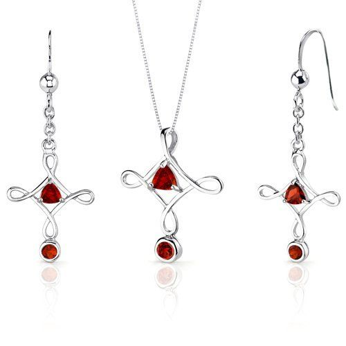 Cross Design 2.00 carats Trillion Cut Sterling Silver Rhodium Finish Garnet Pendant Earrings Set Peora. $34.99. Save 75%!