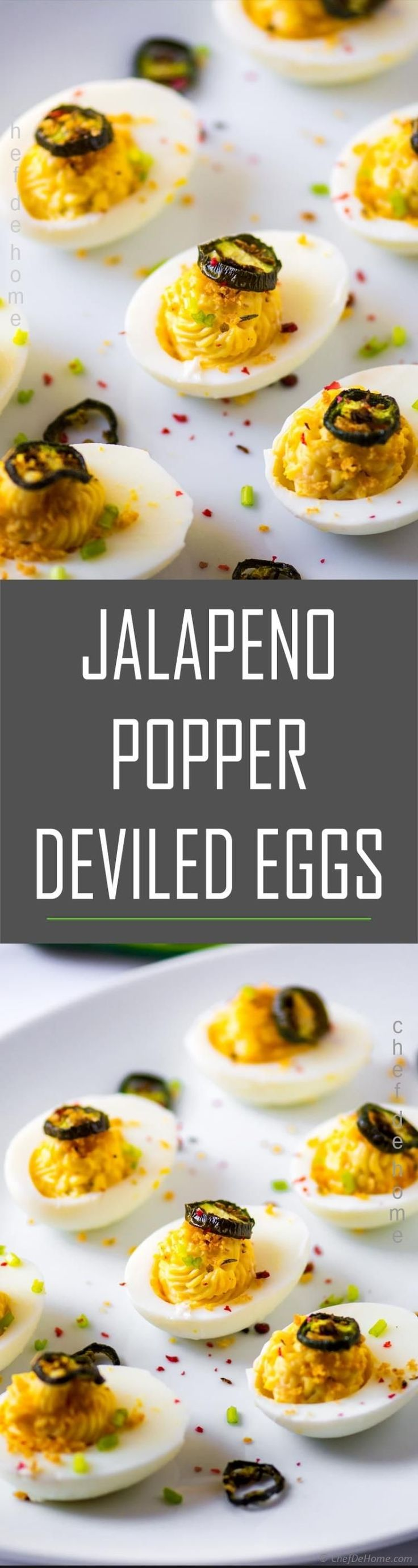 Quick and Easy Jalapeno Poppers Deviled Eggs with all-you-want-in-jalapeno-poppers topped on doubled eggs.. Jalapeno Popper Deviled Eggs is my take on…