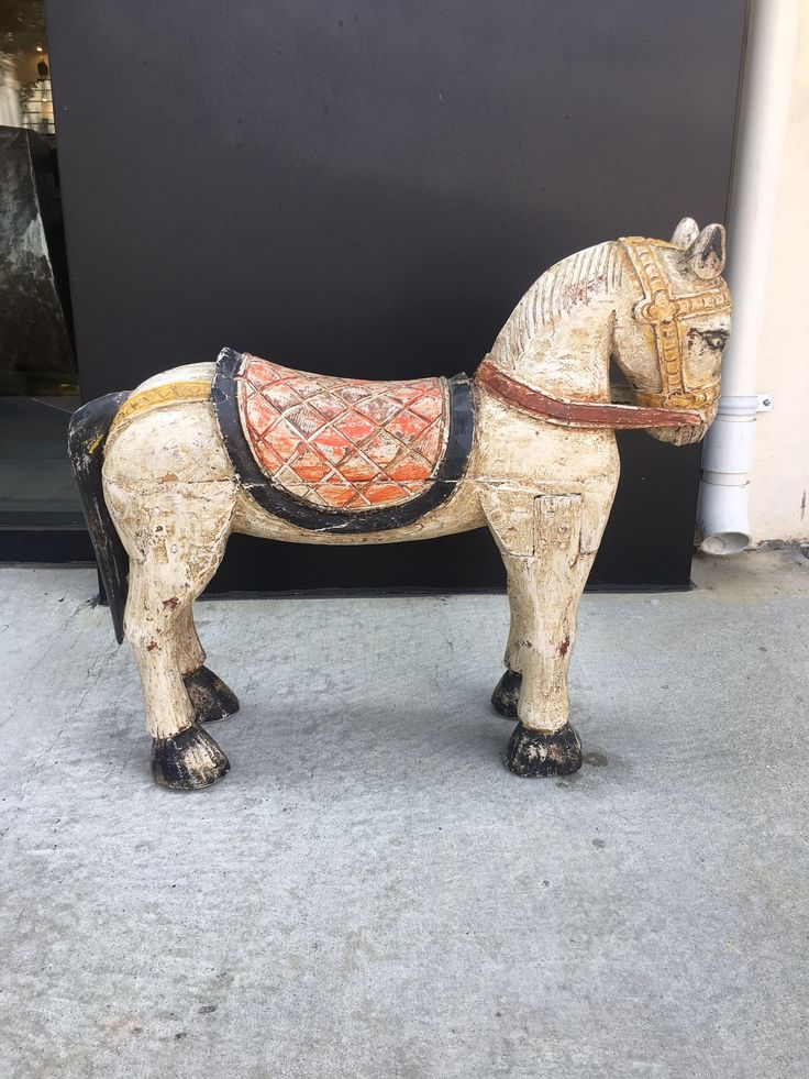 Buy Hand Carved and Hand Painted Wooden Horse  by Nicole Sassaman - Limited Edition designer Accessories from Dering Hall's collection of Rustic / Folk Traditional Transitional Organic Decorative Objects.