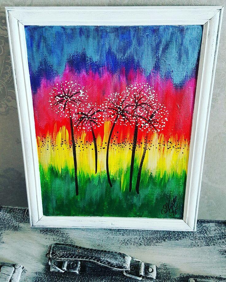 Abstrakt akrylmålning.