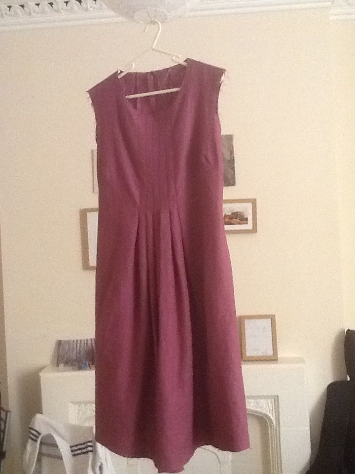 Hand made dress with front pleats. Linen. Ellie Livermore