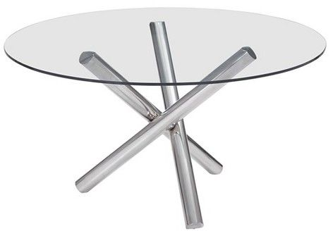 """ZM Home Modern 54"""" Round Tempered Glass and Chrome Stainless Steel Dining Table"""