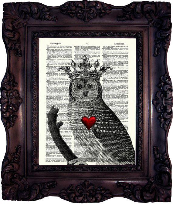Valentine GIFT OWL Art Print Love Girlfriend Gift for Wife Gift for Friend Valentine Gift Birthday Gift Engagement Gift Him C:581