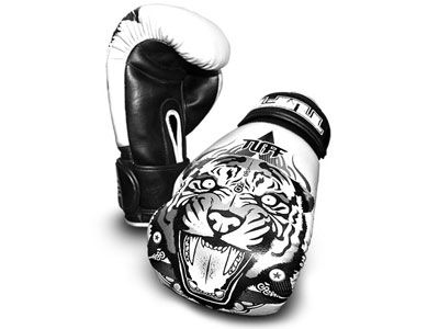 Tuff Muay Thai gloves tiger white