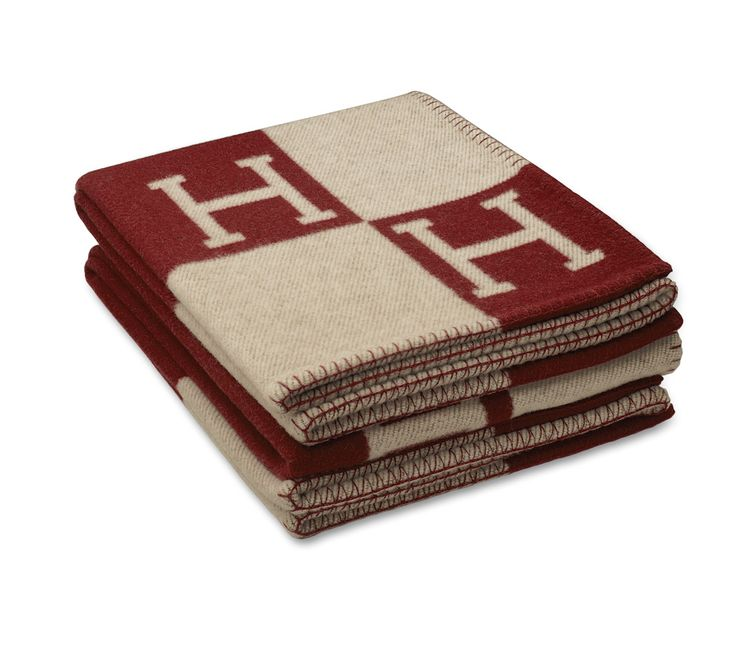 """Classic Avalon Signature H blanket in ecru/Hermes red.85% wool, 15% cashmere. Measures 55"""" x 69""""."""