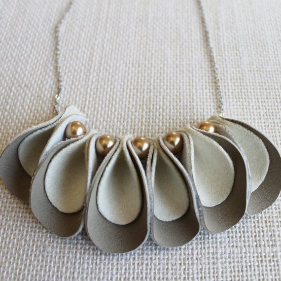 Felt and leather Necklace Scallops in Nude by MinksandTinsel