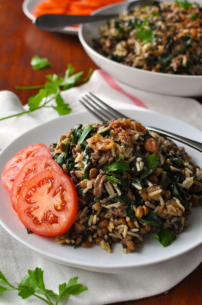 "MIDDLE EASTERN LAMB AND LENTIL RICE PILAF -- This pilaf is so aromatic that you'll be transported to a Moroccan spice market. With a surprising amount of greens ""hidden"" in the pilaf, this is a complete meal made in one pot with an ""A"" Grade nutrition rating. Just 10 minutes of active effort, a fabulous midweek meal to pop into your RecipeTin app!"