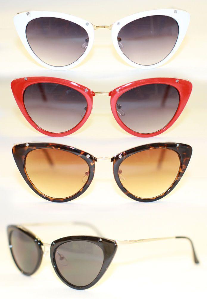 Cat Eye Sonnenbrille Metall Plastik 50 s Rockabilly schwarz weiß rot braun 975