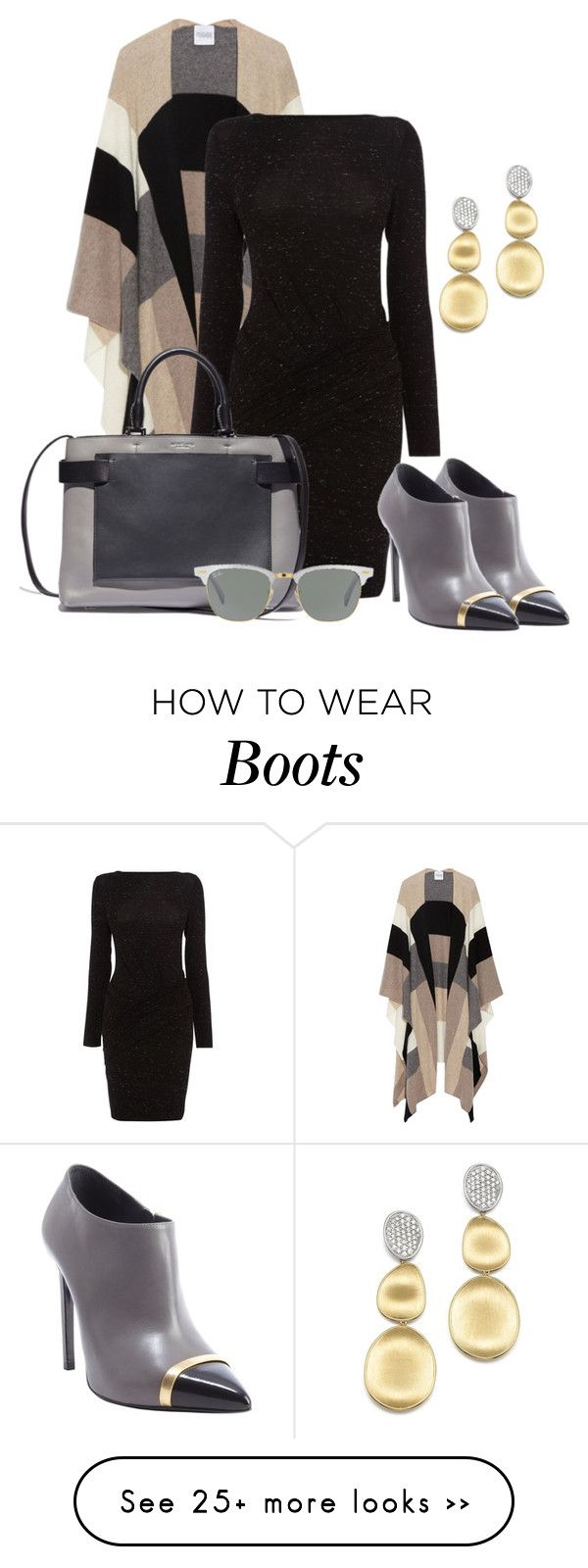 """Ankle boots and a poncho"" by depolo-marina on Polyvore featuring Madeleine Thompson, Karen Millen, Yves Saint Laurent, Ray-Ban and Marco Bicego"