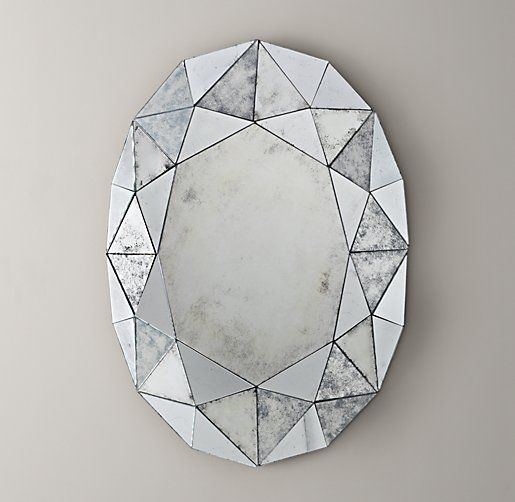 Jewel Mirror: Faceted oval mirror is constructed with faceted edges like a polished gemstone. Glass has a distressed antique finish that evokes timeworn appeal / Restoration Hardware Baby & Child