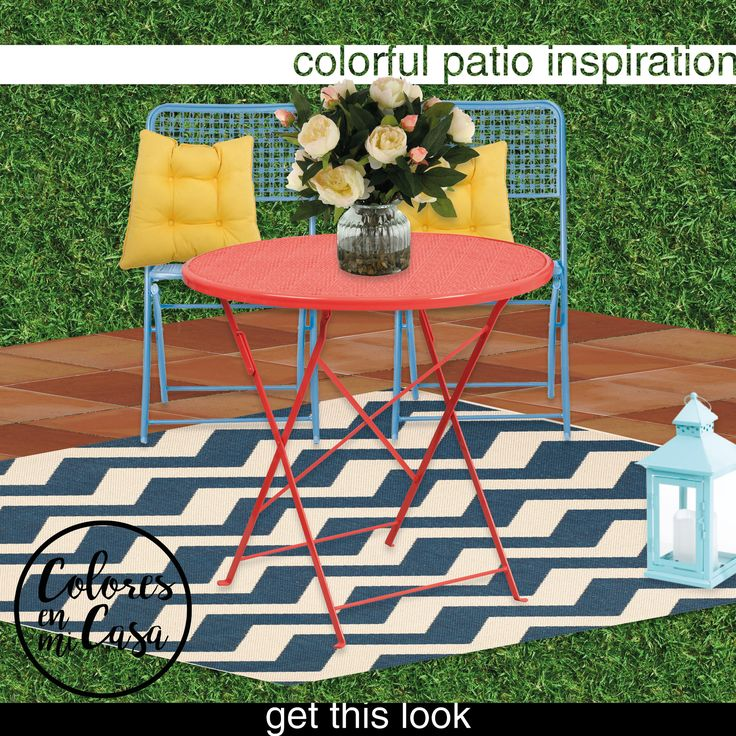 Colores | Colorful Patio Decorating Idea on a Budget | Get this look: Metal Punch Bistro Chair - Brand: Room Essentials // Courtyard Chevron Indoor/Outdoor Rug - Brand: Safavieh // Red Bistro Table - Brand: Flash Furniture // Primrose Yellow Outdoor Seat Cushion - Brand: Nordstrom Rack // Cream Peonies in Glass Planter - Brand: D&W Silks //  | follow us on pinterest for more home decor ideas  /coloresenmicasa |