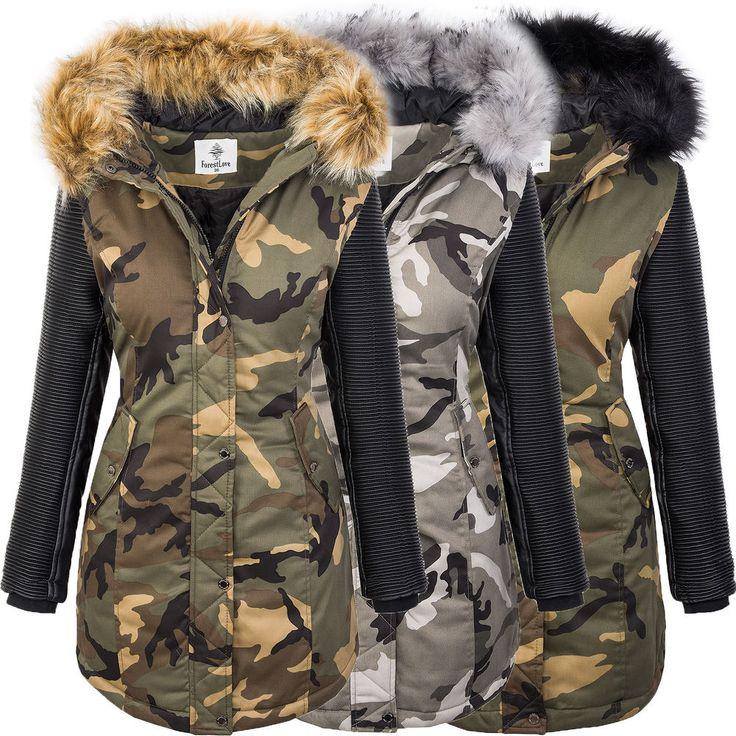 Damen camouflage jacke winterjacke parka kunstleder-ärmel bikerjacke S-XL D-349