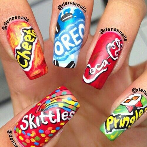 I picked these nails because they have all the foods that i love