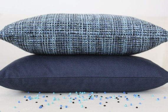 Set of 3, Decorative Blue and Dark Blue Pillow Cover Set, Living Room, Bedroom on Etsy, $27.00